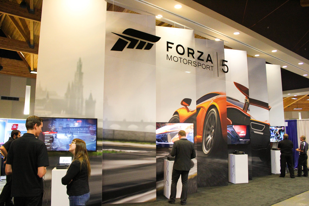XBox One's exhibition display custom designed using the Octanorm exhibit display system
