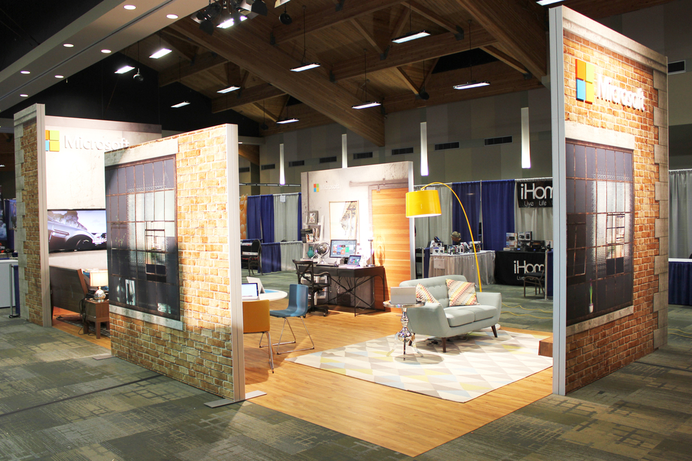 Designed to simiulate an in-home Microsoft experience at a trendy loft this trade show booth rental is always a hit