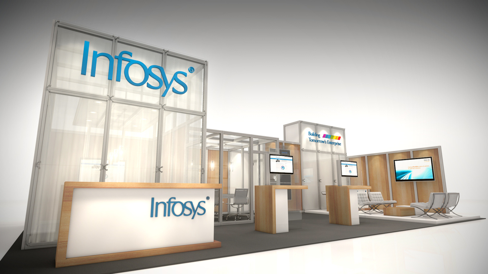 Designed for a partner internationally the Infosys exhibition display rental included large offices and multiple demo kiosks