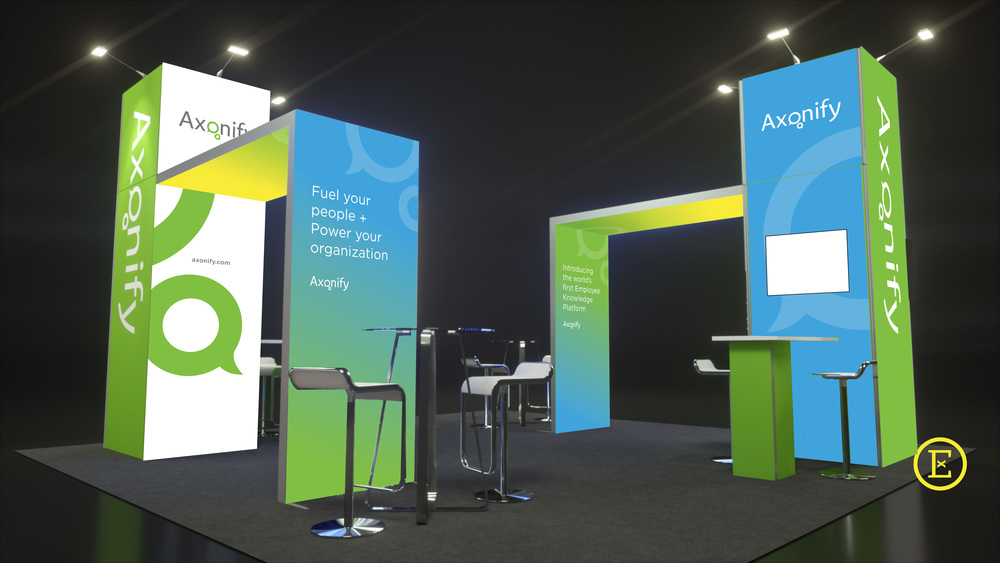 Second view of Axonify's trade show booth rental