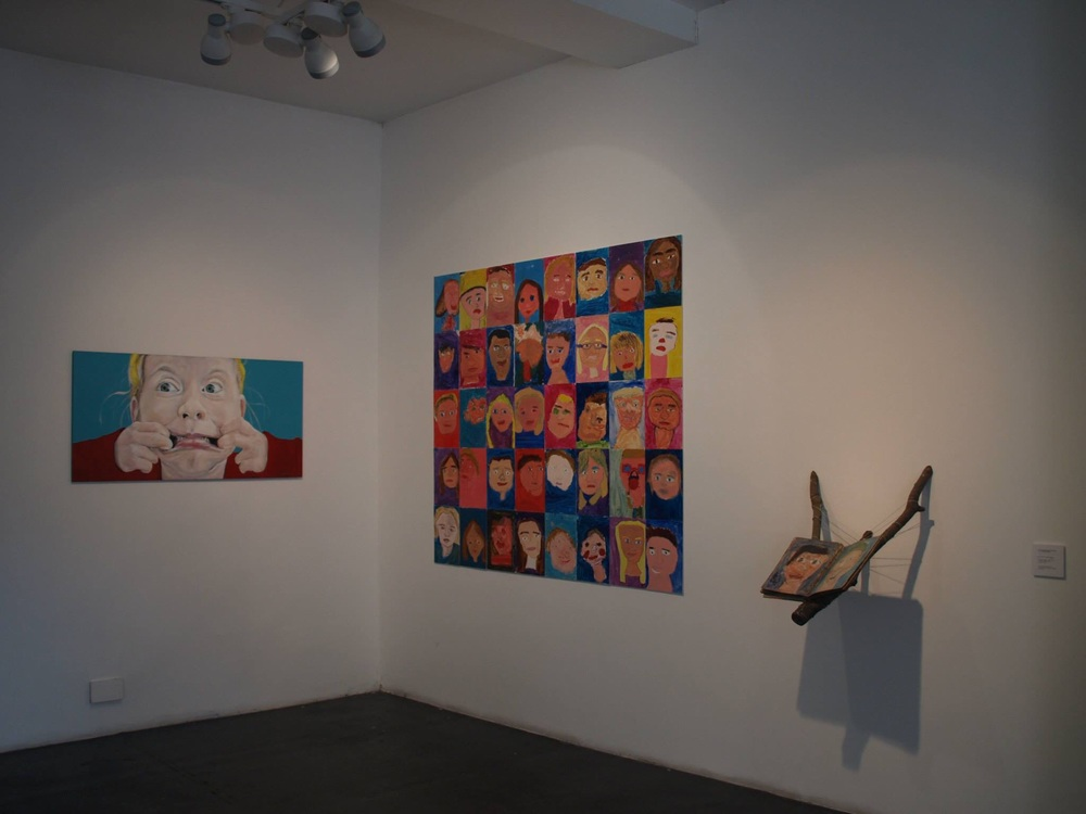 Installation view of some of the children's work along with mine