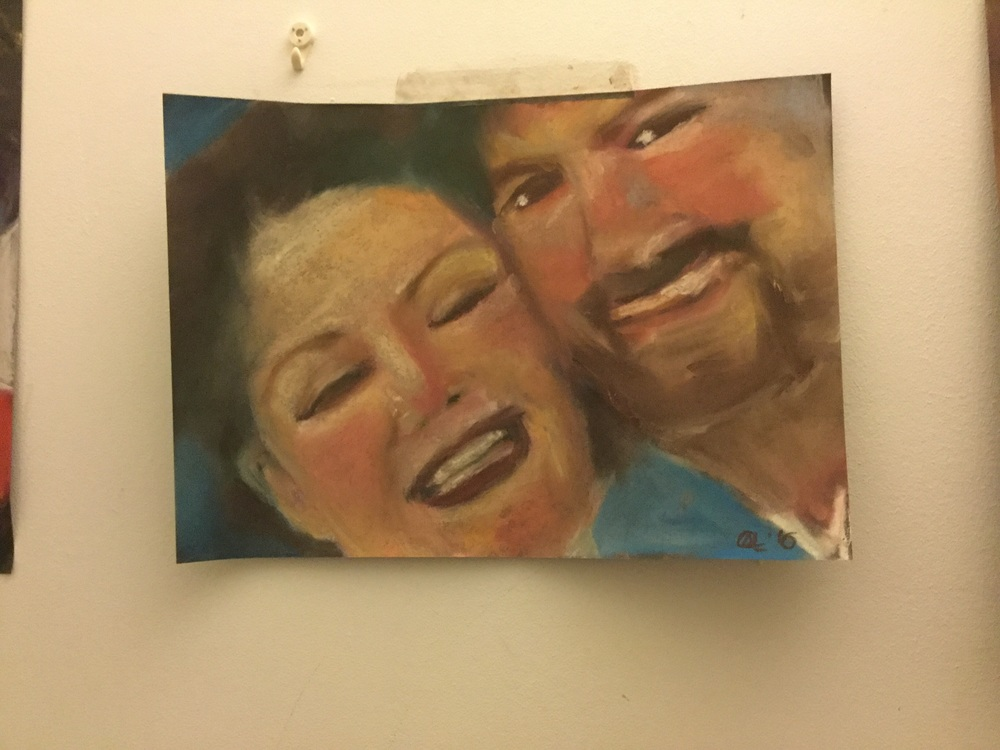 This drawing is of a lovely lady called Nina and her husband Dean. Nina send me a photo of them on a trip to Ireland. (She is from the USA)   I am so much more in my comfort zone painting. I had not used pastels since I was probably in the early days in college but actually I am loving them. I decided to draw rather than paint as I wanted to use a medium that is relatively quick to use and one that would be good on paper - as I needed a support that would be light to post.   I was delighted that Nina was on periscope as I drew this so got to see the development of the drawing from start to finish. Dean was also on for a while.  I am loving how viewers can chat to me while I paint. Already I feel like I am getting to know some of you.