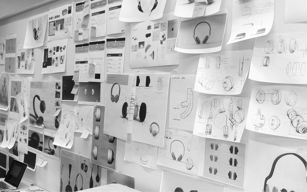 Studio Wall // Iteration upon iteration was posted and discussed with the team for various aspects of the project (the individual responsibilities of the team members)