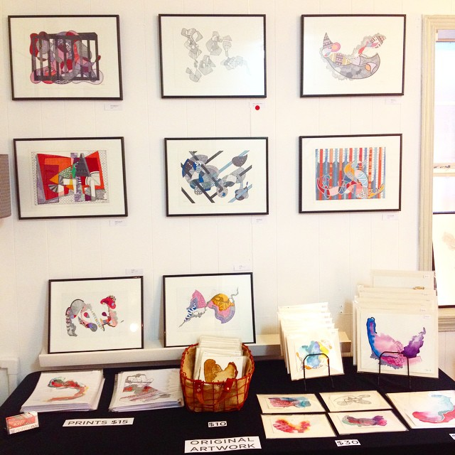 @dotthenai 's intricate, colorful geometric creations upstairs in studio 201 #EAST2014 #eastaustinstudiotour #upcollective