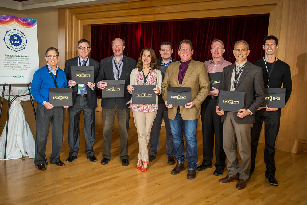 2017 Winners from left to right: Drs. Mark Geller, Scott Franklin, Jay Gibson, Aurora Sordelli, Tim Brunson, David Hime, Mike Chaffee, David Adame, and Aaron White.