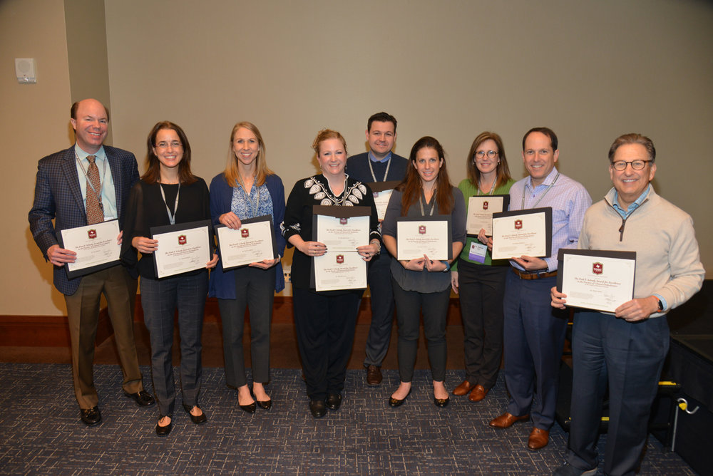 2018 Winners from left to right: Drs. Jay Gibson, Aurora Sordelli, Carrie Lindsey, Meredith Scott, Tim Brunson, Alexis Tessler, Nadene Tipton, Hilton Goldreich, and Mark Geller.