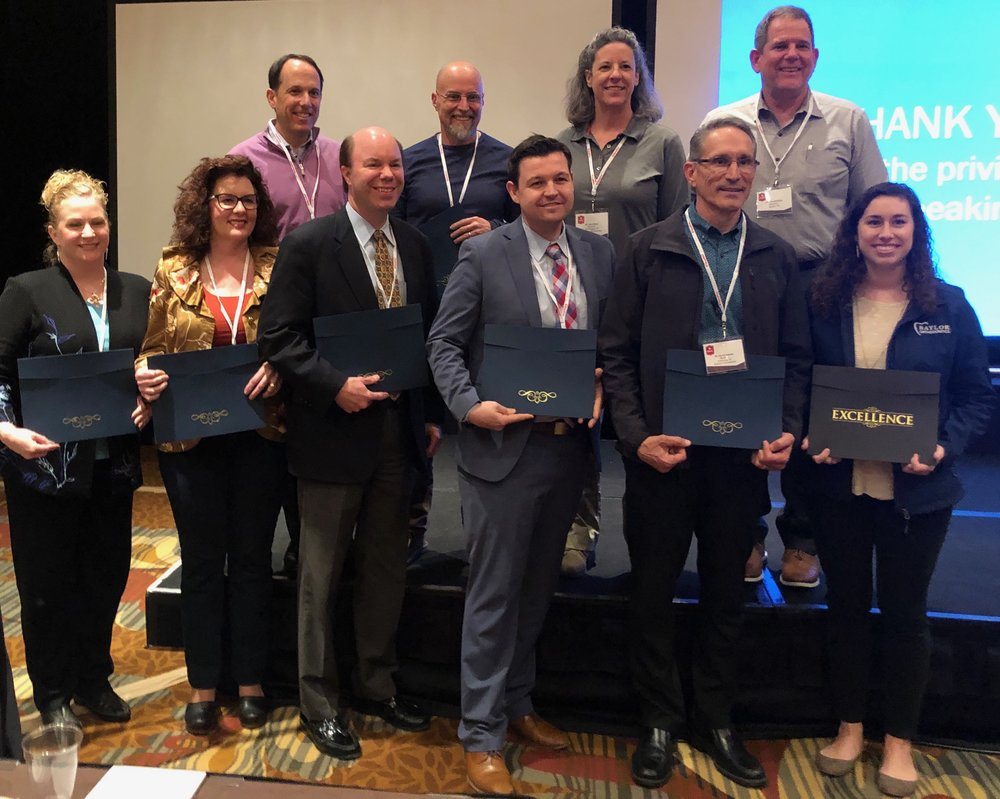 2019 Award Winners from Left to Right Top Row: Drs. Hilton Goldreich, Nick Salome, Ilene Rees and David Hime. Bottom row left to right: Drs. Meredith Scott, Katie Julien, Jay Gibson, Tim Brunson, David Adam and TAMU resident Jennifer Ryan (Not Pictured - Dr. Dean Jensen).