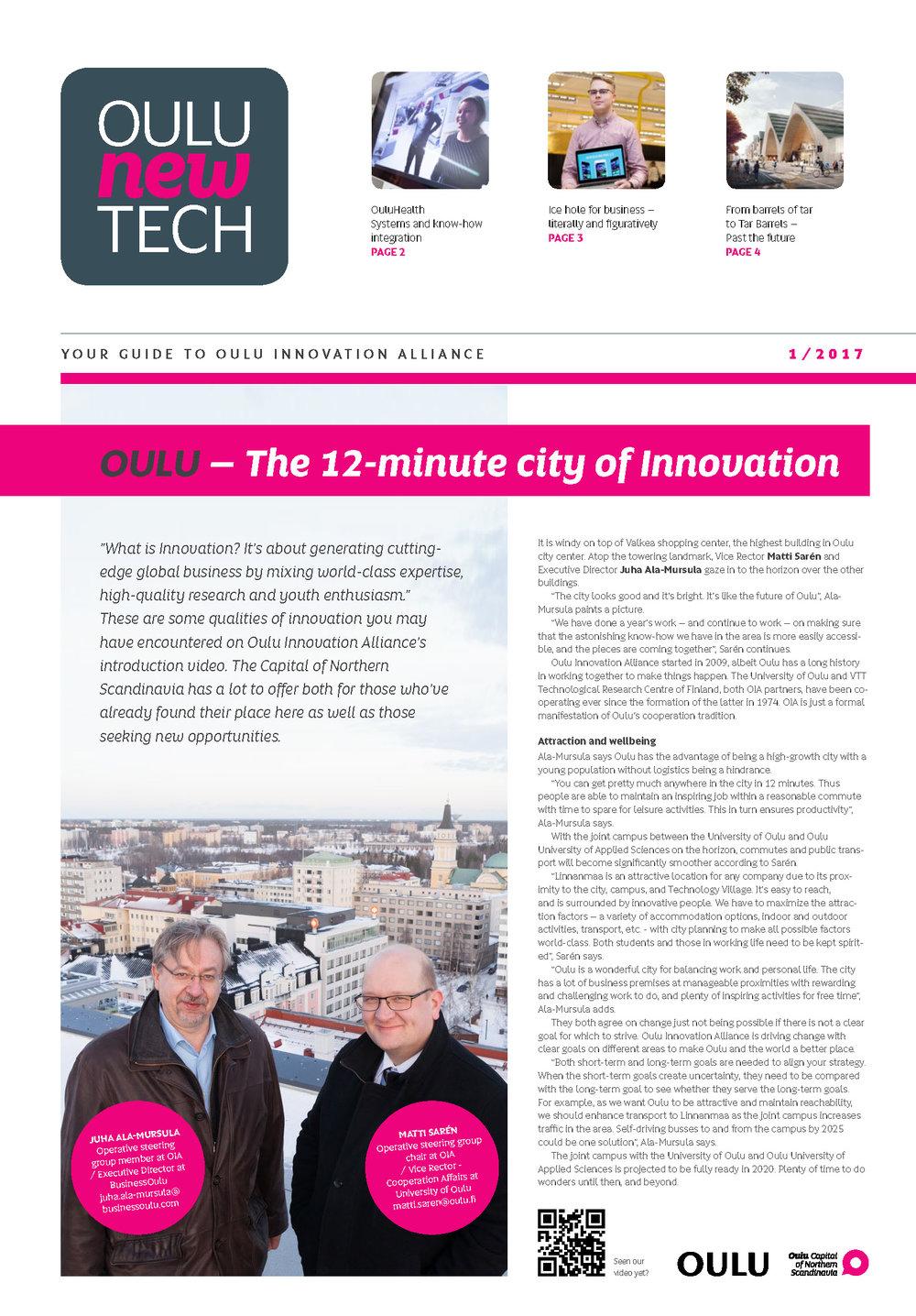 Oulu New Tech, 1/2017. Juha Ala-Mursula, BusinessOulu and Matti Sarén, Oulu University.