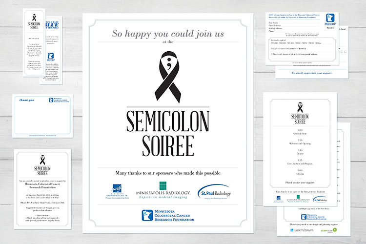 Above: Full print collateral package for the Semicolon Soiree gala.