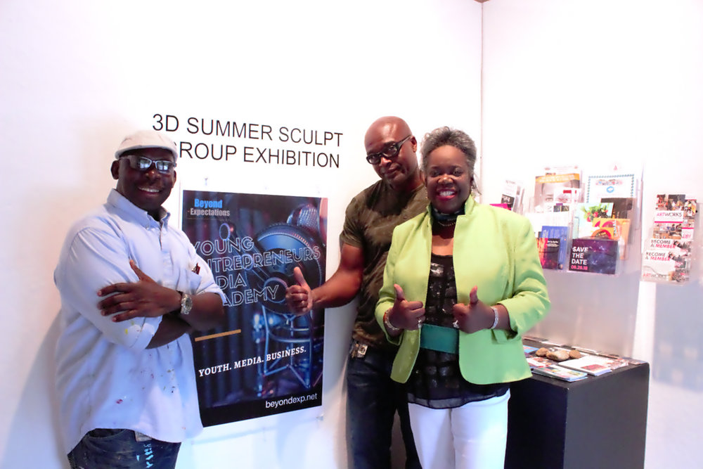 Sculptors Clifford Ward (l) and Autin Wright (r) with Beyond Expectations Executive Director  Leontyne Anglin  at Final Group Exhibition