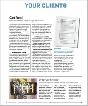Remodeling Magazine (p. 24) December 2012 BUILD LLC's construction cost cheat sheet