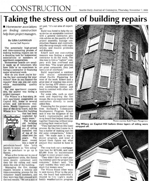 "Daily Journal of Commerce November 2002 ""Taking the stress out of building repairs"""