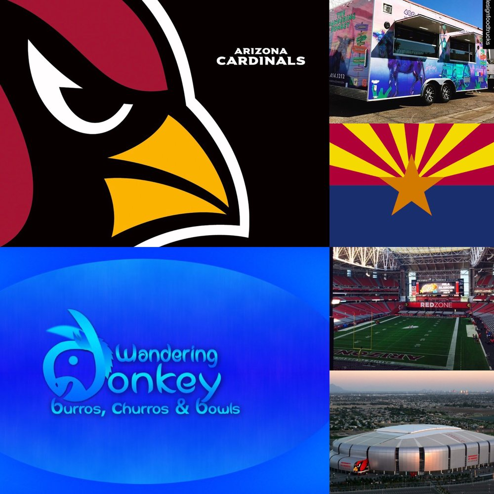 YOU CAN FIND THE WANDERING DONKEY AT THE STADIUM THIS YEAR!  ALL HOME ARIZONA CARDINAL GAMES ON THE FLIGHT DECK AT GATE #2!  COME FIND US!