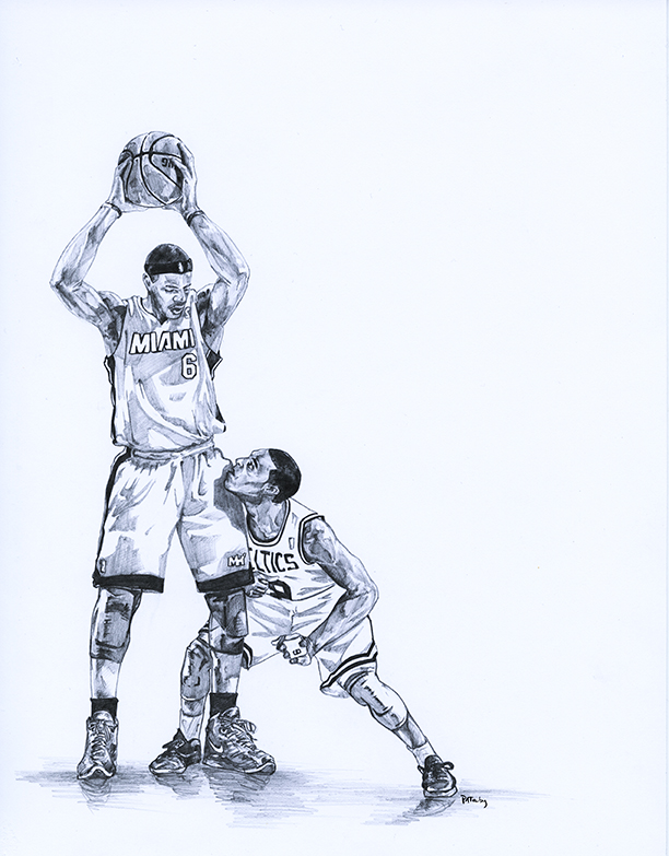 pencil drawing of LeBron James and Rajon Rondo done for the In The Paint basketball art show