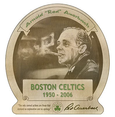 mashup illustration of Red Auerbach and Pappy Van Winkle Bourbon done for the In The Paint basketball art show