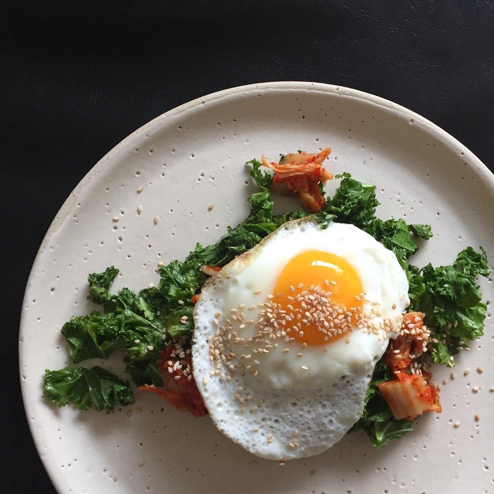 Kimchi kale and egg