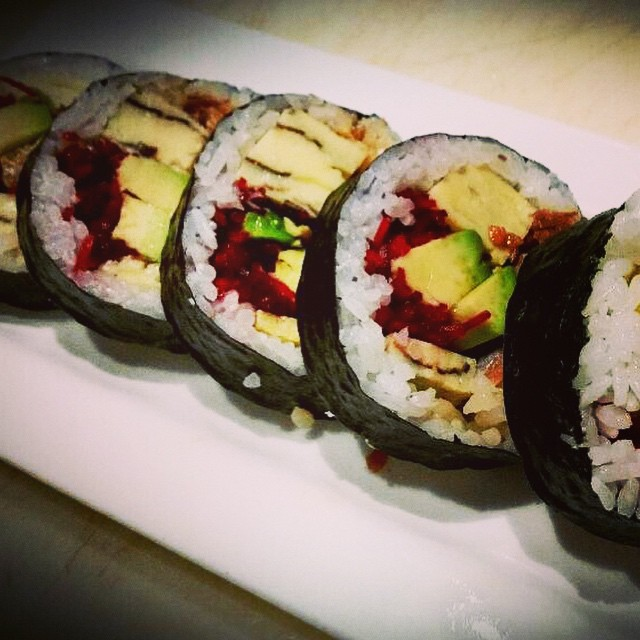 "Try the ""Crispy Salmon Skin Futo Maki"" by sushi chef Prescott: Crispy smoked salmon skin, fresh made Tamago, avocado, & beets #threesspecials #threesbarandgrill #sushiporn #live #love #surf"