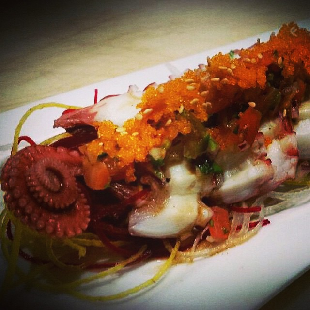 """Tako Ceviche"" by sushi chef Brady: Tako sashimi, served with Japanese Pico De gallo, togorashi, root vegetables, red tobiko #threesspecials #threesbarandgrill #sushiporn #live #love #surf $13.50 Brady"
