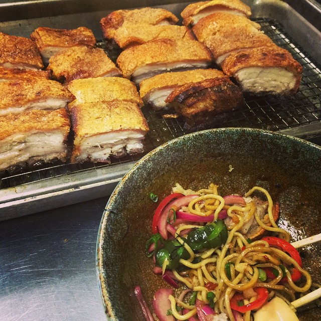 "Happy Chinese New Year from Three's! Tonight Chef Travis made some authentic crispy Chinese roast pork belly for his ""Bacon and Egg Garlic Noodles!"" Don't miss it! #testingthegoods #threesspecials #threesbarandgrill #happychinesenewyear #crispyporkbelly"
