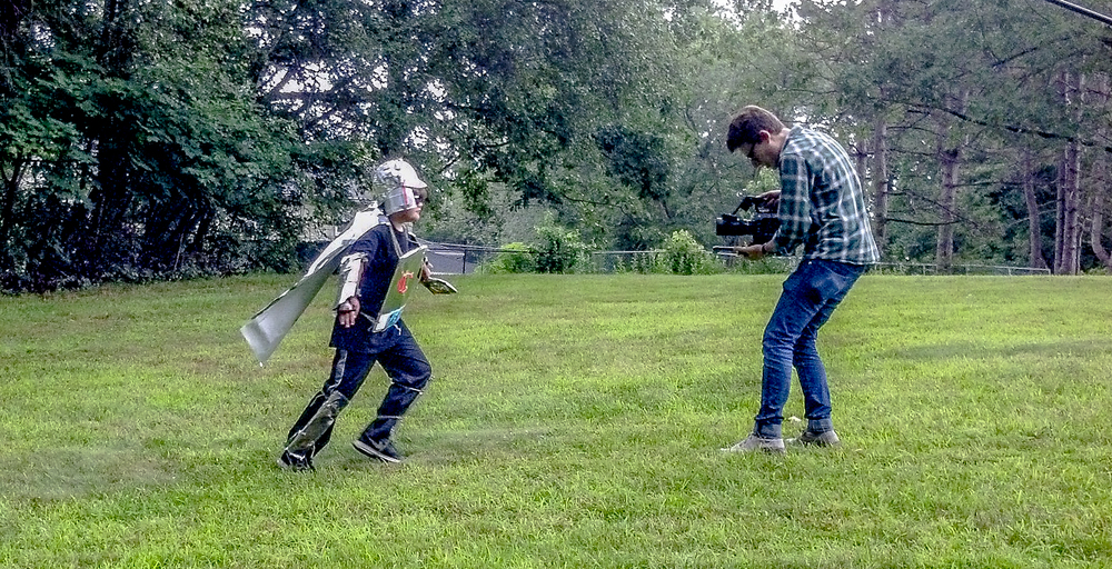 "Adam with Alexander Jameson on the set of ""Captain Cyborg"""