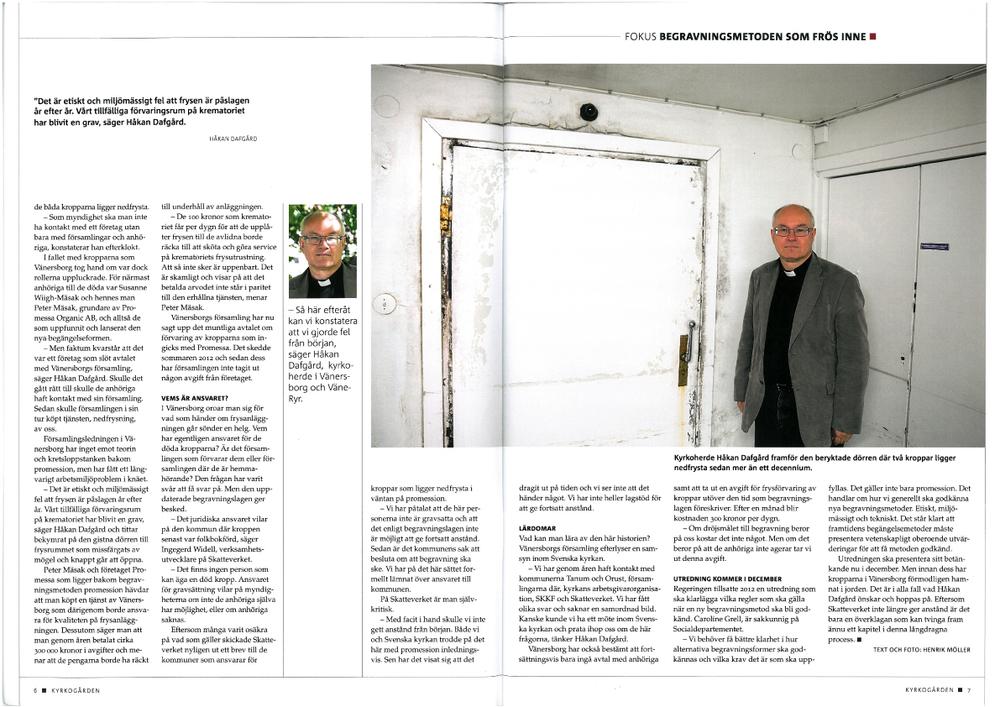 Tidningen Kyrkogården, inlaga. Text och bild.
