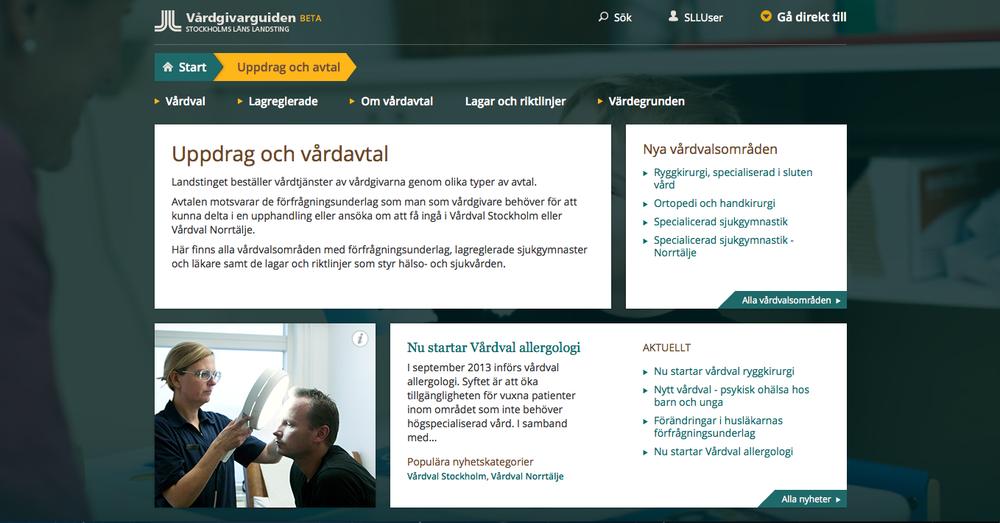 Vårdgivarguiden, Stockholms läns landsting. Text och migrering i Episerver 7.