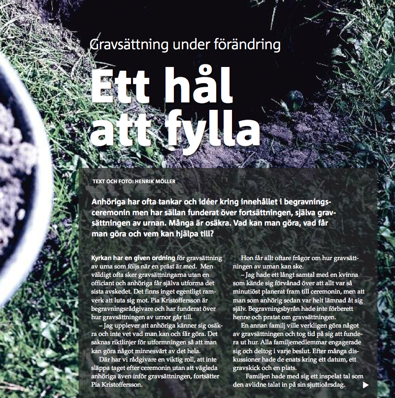 Reportage i Kyrkogården.