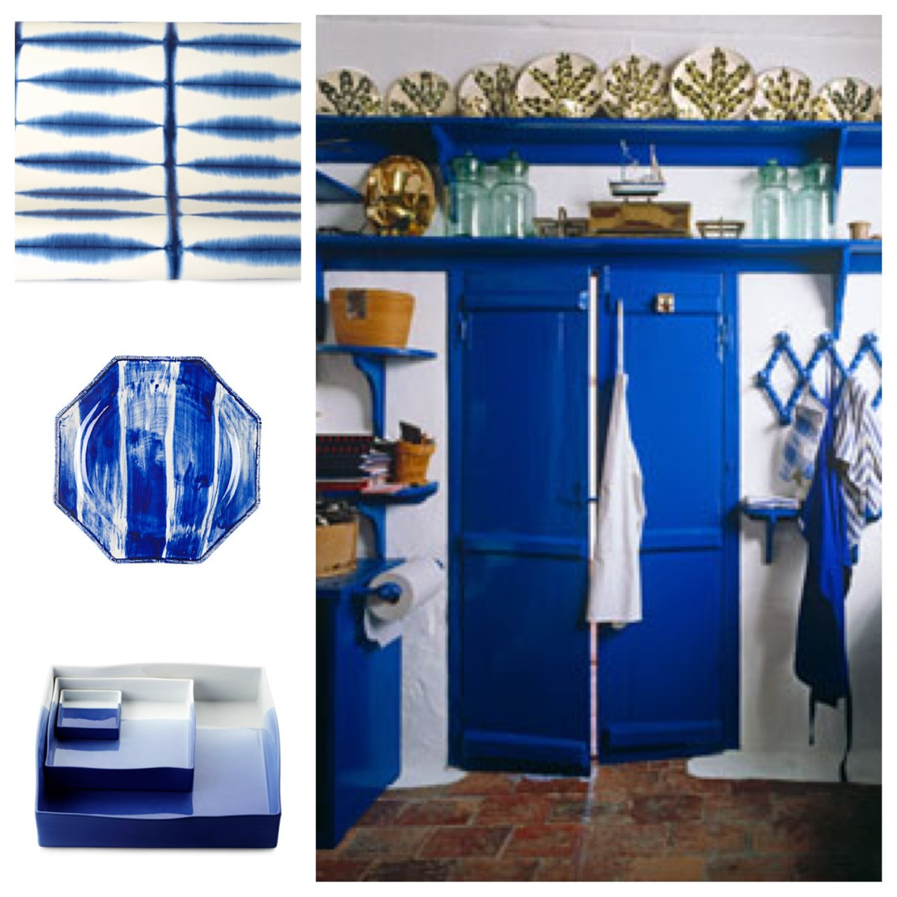 Cobalt Blue Obsession. From plates to doors you can add a little blue anywhere. It brightens up any room with a few accents and also gives a newness that commands attention.
