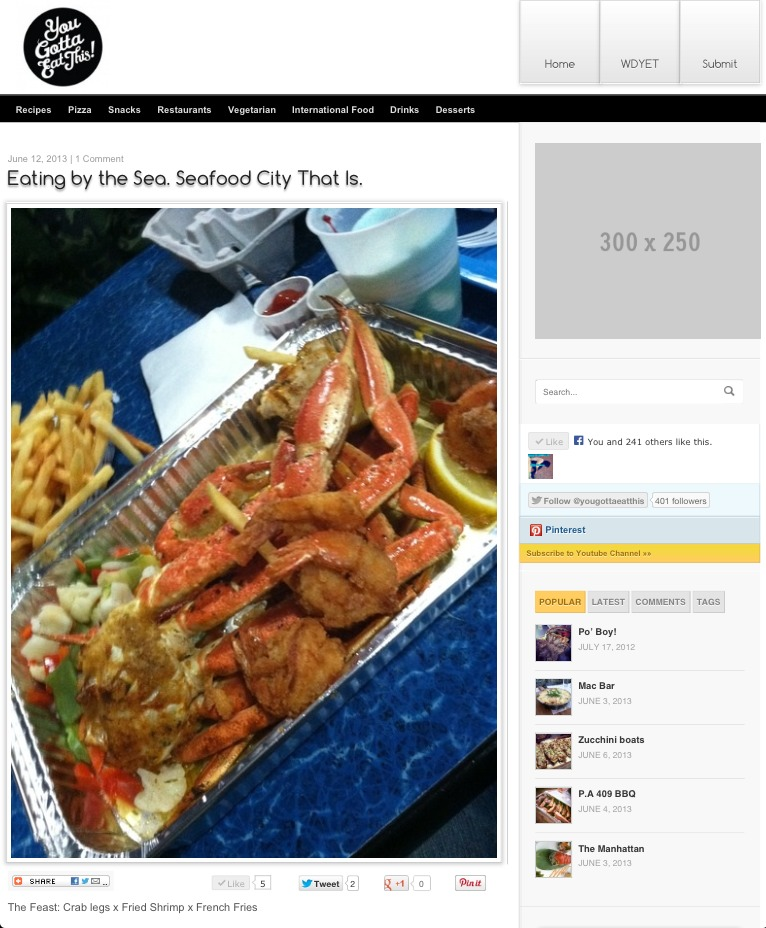 Check out my first post on Bun B & Premium Pete's new food website You Gotta Eat This.  http://bit.ly/173J0PJ