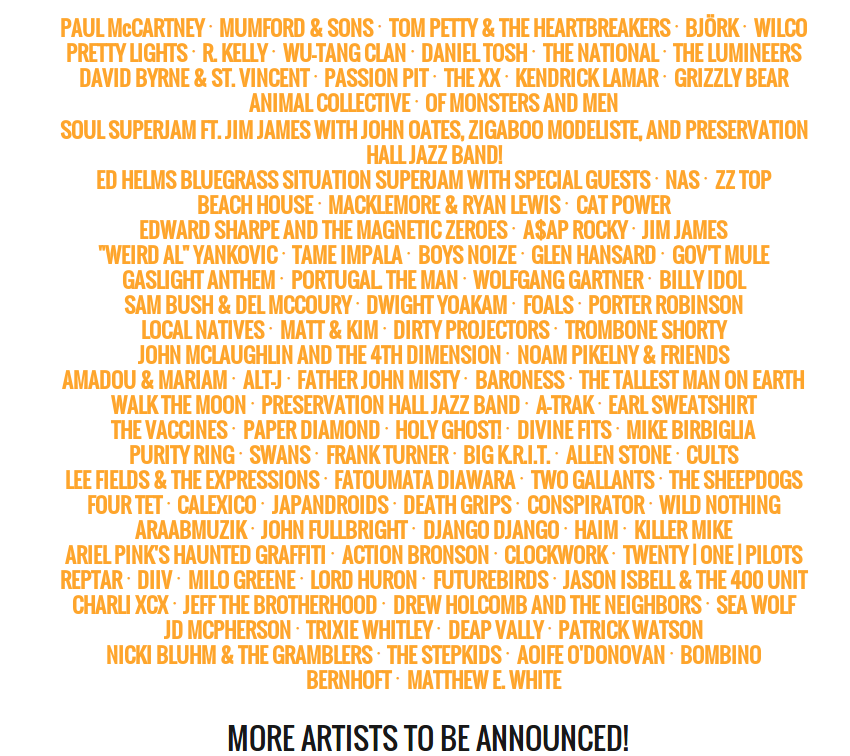 Bonnaroo 2013 Lineup…Straight up JUICE!!! #eyepissglitter