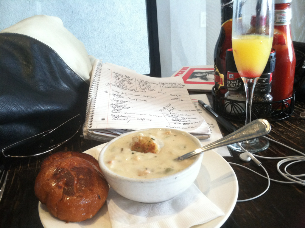 Desk of the Day: Shrimp x Crab Chowder. Mimosa Mondaze.