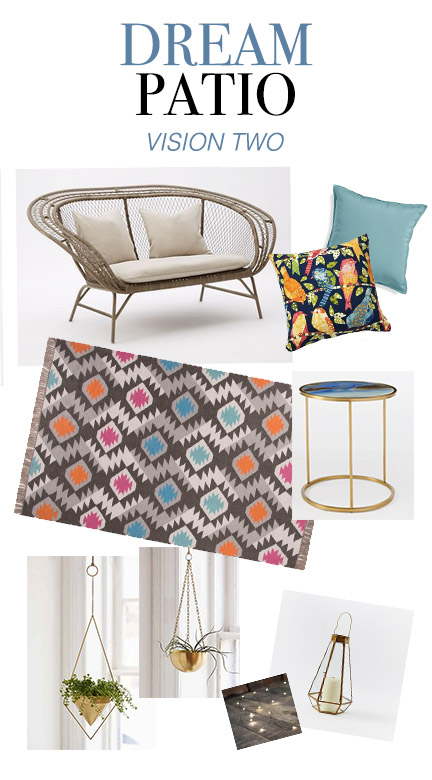 Lounge Sofa | Teal Pillow | Bird Pillow | Outdoor Rug | Side Table | Hanging Planters | Ferry Lights | Geometric Lantern