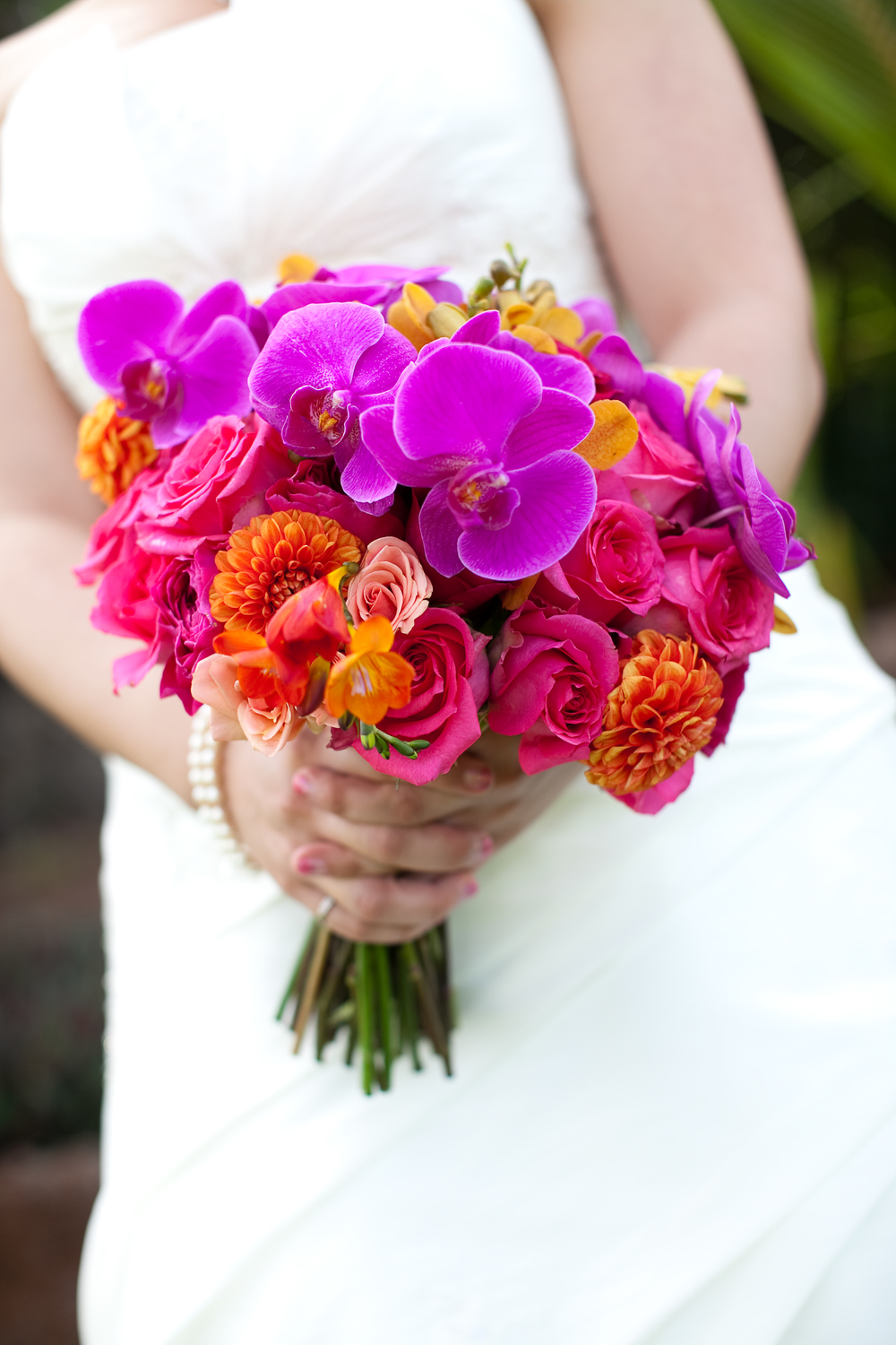 bright pink orchid and rose bouquet by Passion Roots | Dulce Photography | Oahu, Hawaii