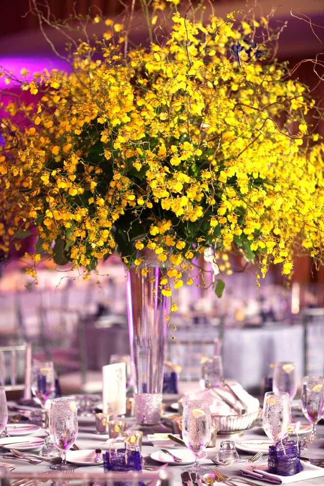 dramatic tall yellow orchid centerpiece by Passion Roots | Frank Amodo Photography | Oahu, Hawaii