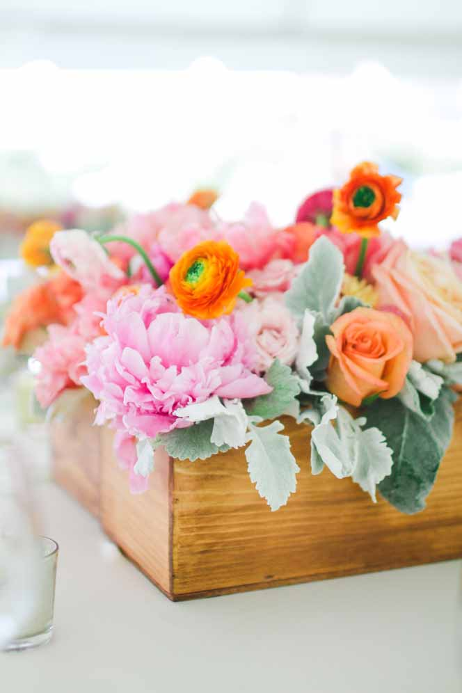 orange, pink and green centerpiece in wood box by Passion Roots-Ashley Goodwin Photography