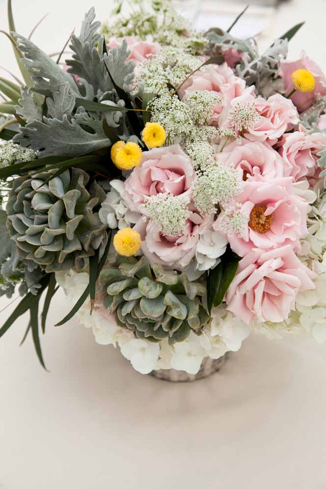 pink, white and succulent centerpiece by Passion Roots / Meghan Nicole Photography