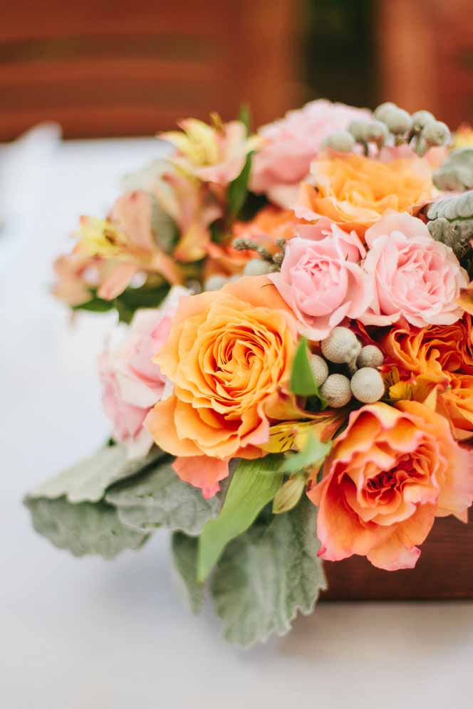 bright, citrusy boxed centerpieces by Passion Roots | Chris Simons Photography | Oahu, Hawaii