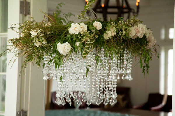 glamorous floral chandelier by Passion Roots | weddings by willy and meghan | Oahu, Hawaii