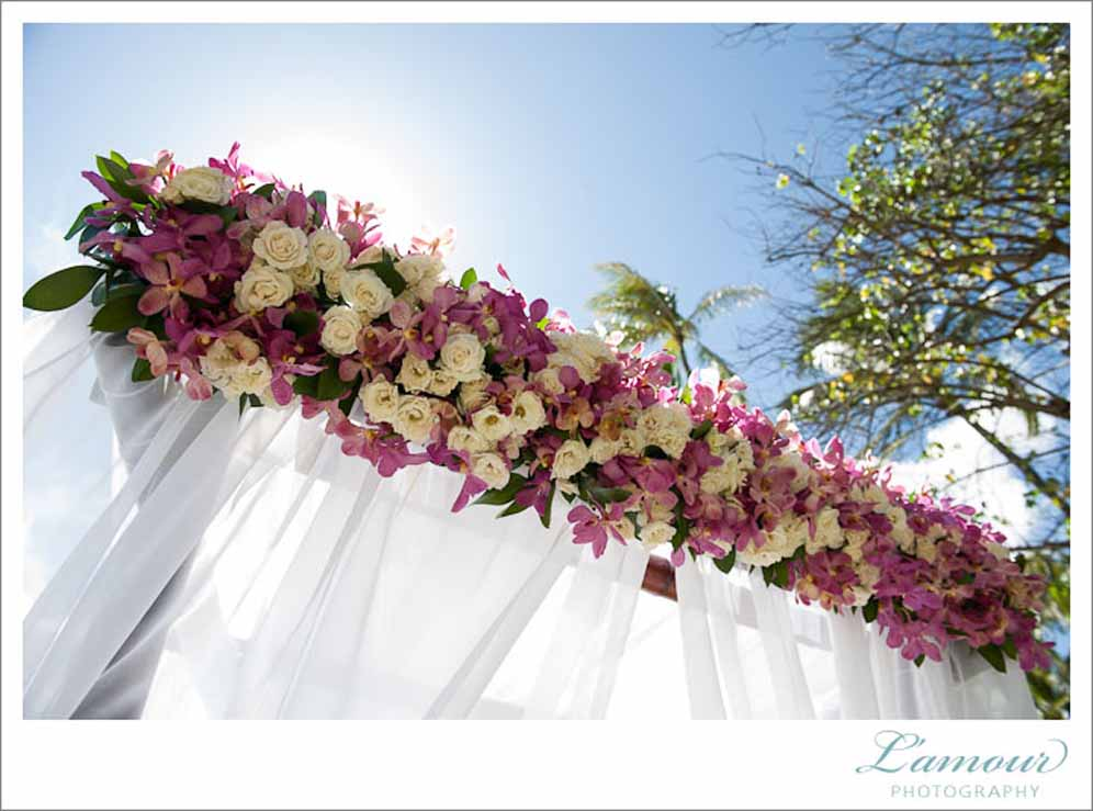 tropical ceremony arch / floral design by passion roots / l'amour photography