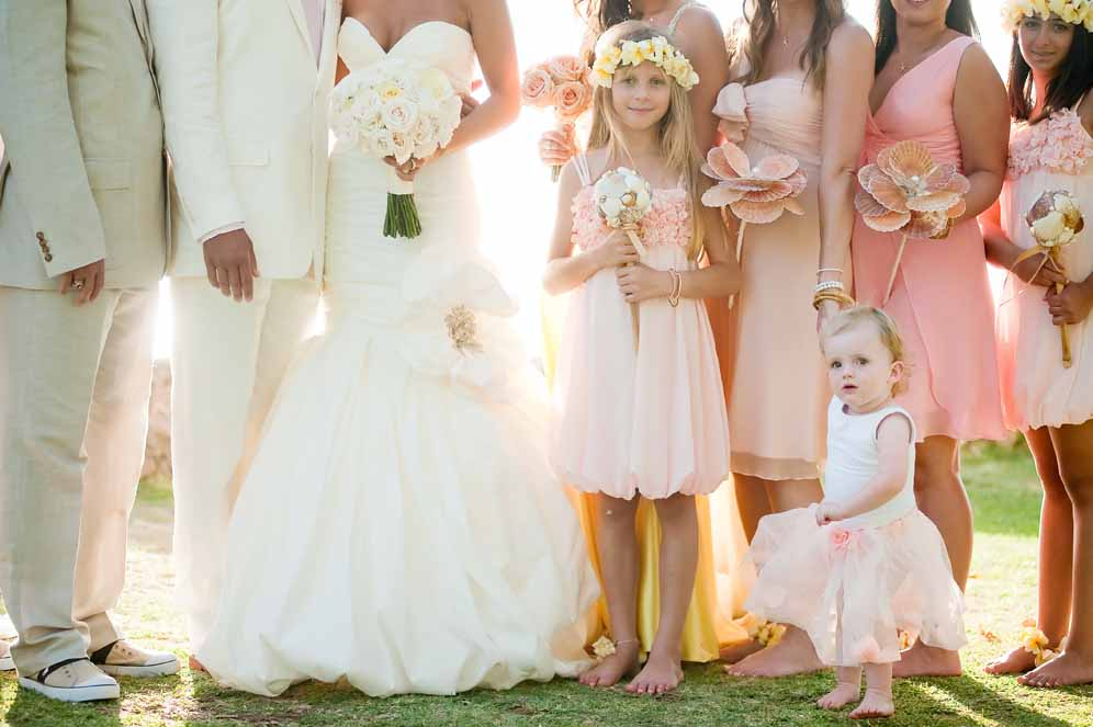 pastel coral wedding party florals by Passion Roots | photography by Visionari | Oahu, Hawaii