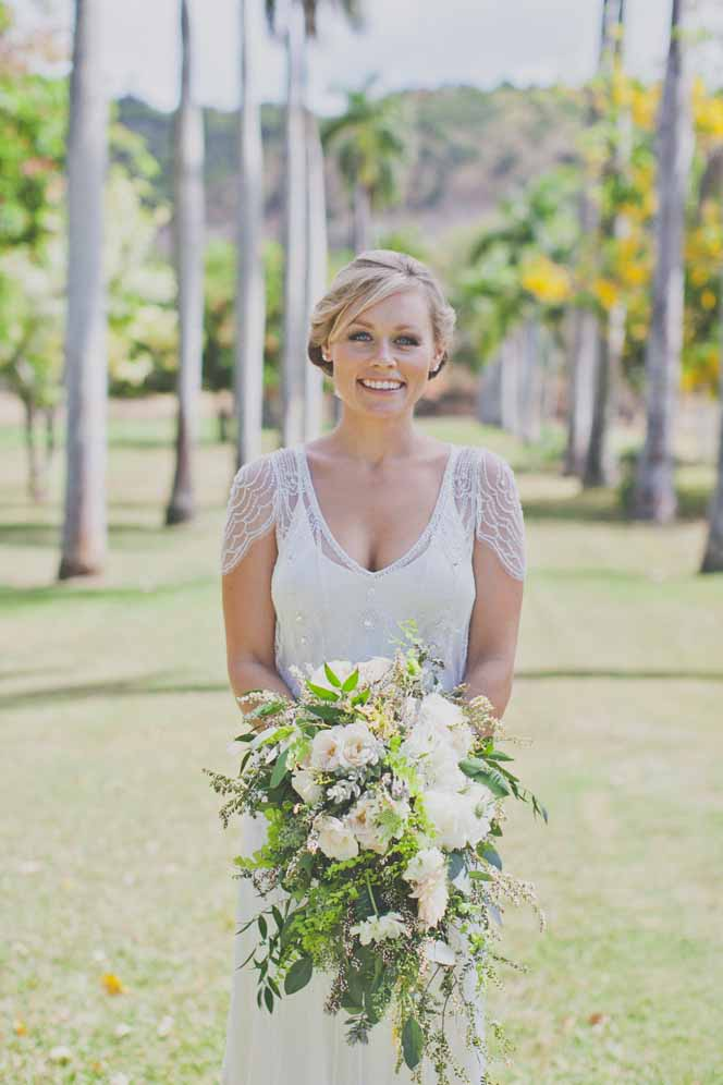 cascading greenery bouquet by Passion Roots | Christina Heaston photography | Oahu, Hawaii