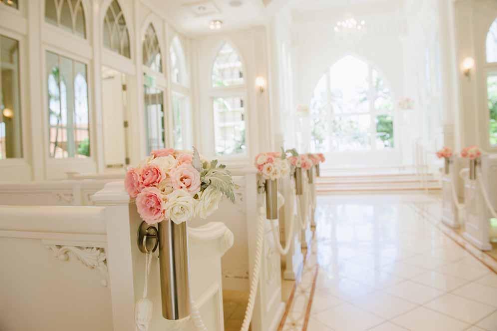 pink aisle arrangements by Passion Roots