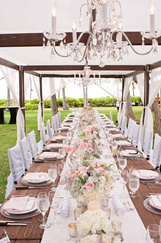girly rustic glam reception table by Passion Roots | Derek Wong Photography | Oahu, Hawaii