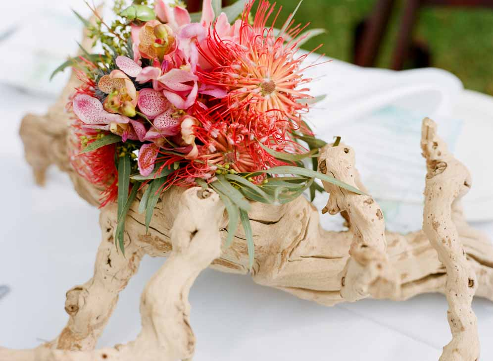tropical centerpiece with grape wood by Passion Roots | Oahu, Hawaii