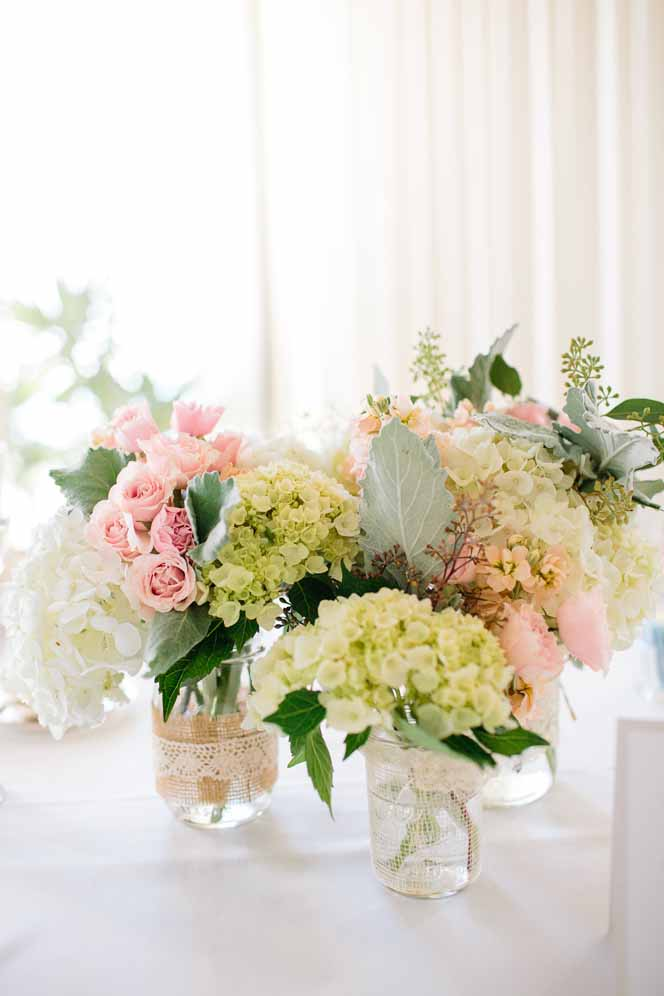 small jar centerpieces / floral design by passion roots / cherie mariko photography