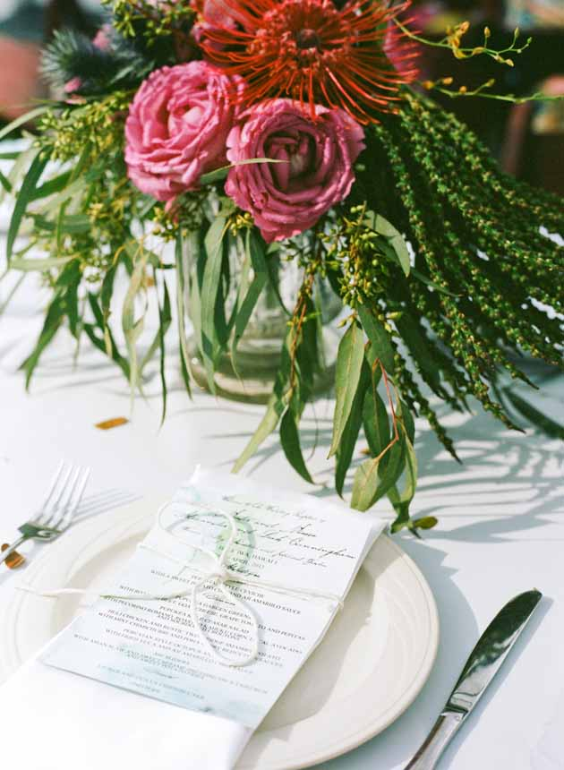 berry colored and greenery centerpiece by Passion Roots | Oahu, Hawaii