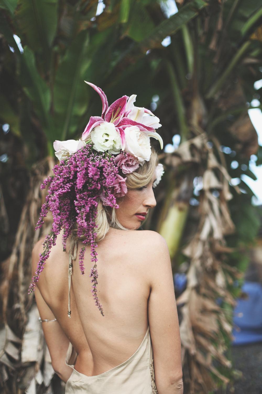 dramatic fashion flower head piece by Passion Roots / Taryn Kealani Photograhy
