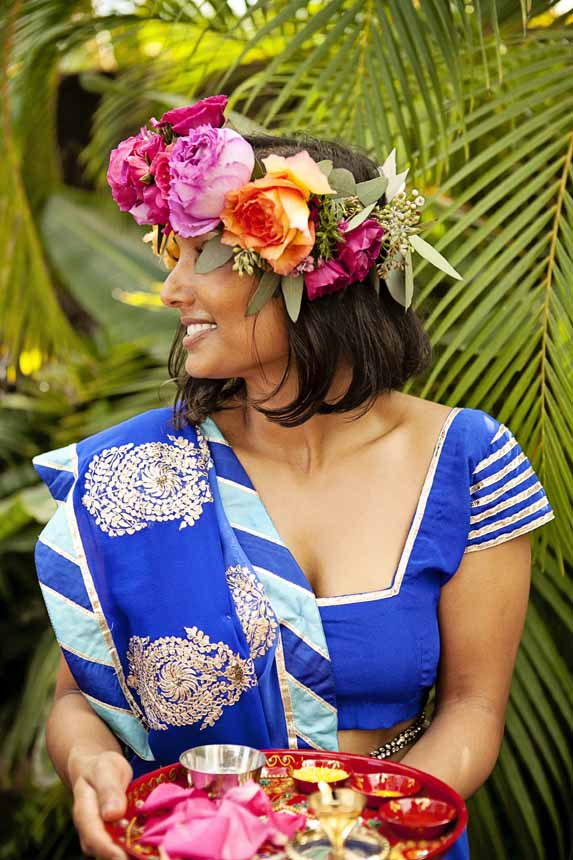 Indian wedding flower crown by Passion Roots / Creatix Photograhy