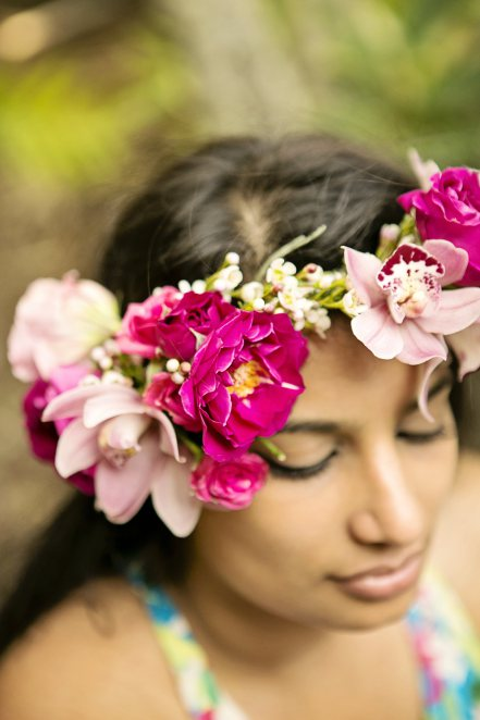 bright pink flower crown by Passion Roots | Creatix Photography | Oahu, Hawaii