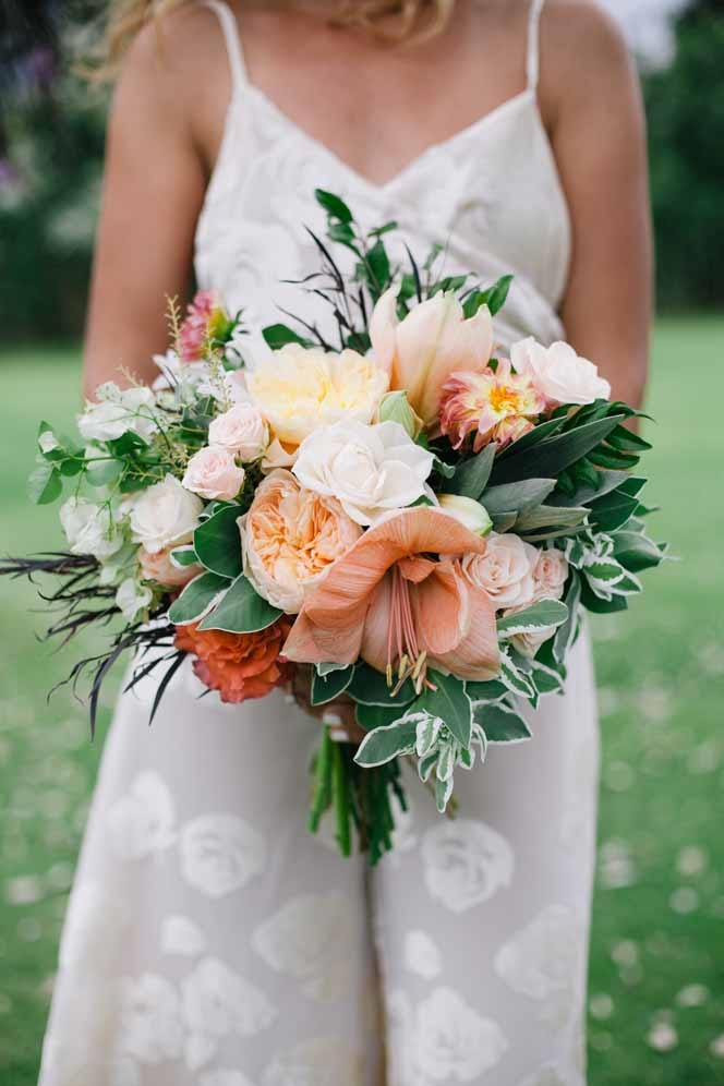 boho green and peach bouquet by Passion Roots | Meghan Nicole Photography | Oahu, Hawaii